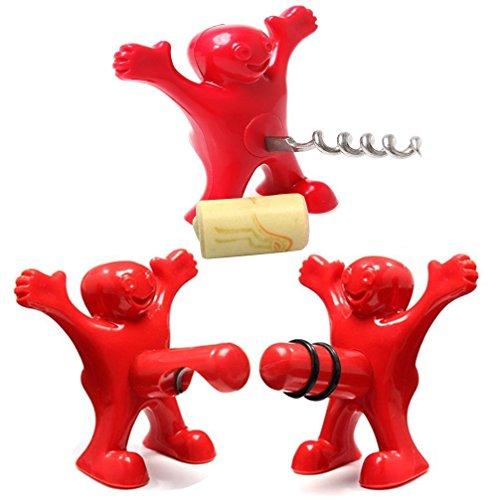 SELECTO Backen-Flaschenverschluss, Korkenzieher und Flaschenöffner Set von 3 - Cola Coca Schlüsselanhänger Flaschenöffner