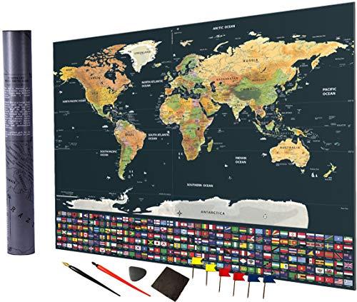 (Atlamon XXL Premium Weltkarte zum Rubbeln (82x59.5cm) Einfache Abrubbel Technologie, mit Fahnenpins, Diverse Abrubbel Tools, Zubehör inkludiert, sehr detailliert)
