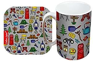 Selina-Jayne Camping Limited Edition Designer Mug and Coaster Gift Set
