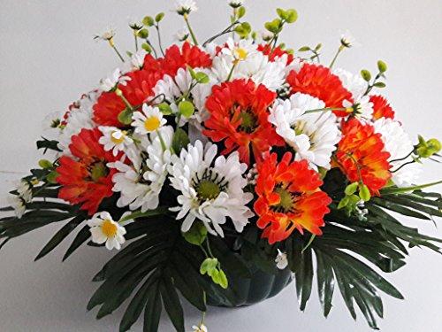 Composition de fleurs artificielles, lesté ciment pour une très bonne tenue l' extérieur vu son poids et son pot en forme de Charlotte. Réalisé par nos soins, produit apprécié dans nos villes. Les fleurs sont aussi de très bonne qualité. Vous ne serez pas déçus par sa résistance au vent. (orange)