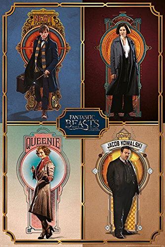 empireposter Fantastic Beasts-Phantastische Tierwesen-Framed Cast-Film Kino-Poster Druck-Größe 61x91,5 cm, Papier, bunt, 91.5 x 61 x 0.14 cm