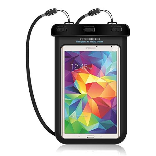 MoKo Wasserdichte Handyhülle Tablet Schutzhülle, Staubdicht Handytasche mit Halsband und Hand Strap für iPad Mini 2 3 4, Google Nexus 7(FHD), ASUS ZenPad S 8.0, Tablet (bis zu 8.4 Zoll) - IPX8, Schwarz (Kindle Fire Handy)