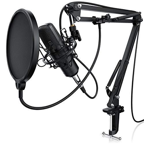 LIAM & DAAN Kondensatormikrofon + Mikrofonarm | Studiomikrofon-Set | Großmembran-Kondensatormikrofon + Mikrofonarm und -spinne + Popschutz + 2,5m 3,5mm Klinke zu XLR Kabel | neues Modell 2019