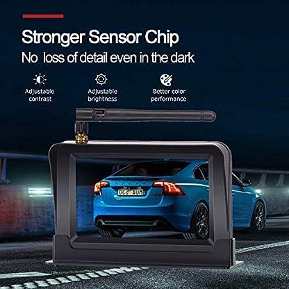 Yakola-F4-Wireless-Backup-Kamera-KitRckfahrkamera-drahtlos-IP69-Wasserdicht-LED-Super-Nummernschild-Nachtsicht-Rckseite-Funk-Back-Up-Auto-Kamera109cm-LCD-TFT-kabellos-Rckfahrkamera-Monitor