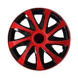 (Farbe & Größe wählbar) 15 Zoll Radkappen, Radzierblenden Draco Bicolor (Schwarz/Rot) passend für fast alle Fahrzeugtypen (universal)