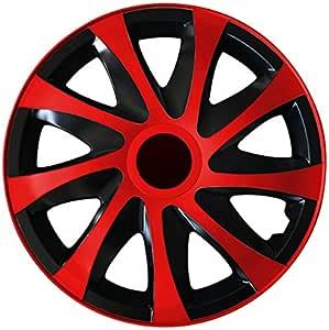 Eight Tec Handelsagentur Farbe Größe Wählbar 13 Zoll Radkappen Radzierblenden Draco Bicolor Schwarz Rot Passend Für Fast Alle Fahrzeugtypen Universal Auto