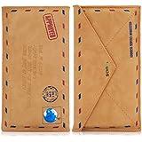 kwmobile Hülle Slim Case für Smartphones mit Mail Design - Schmale Kunstleder Schutzhülle Tasche Cover in Hellbraun - z.B. geeignet für Samsung, Apple