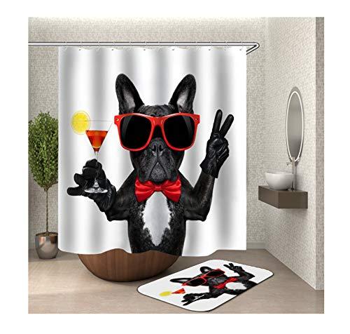 Bishilin Hund mit Sonnenbrille 3D Duschvorhang Anti-Schimmel 180x180, Badematte Waschbar 40x60 Badematte 2 Set