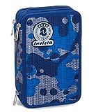Trousse Scolaire 3 Compartiments Invicta , CAMOU , Camouflage Bleu , Avec contenu: crayons, stylos... !