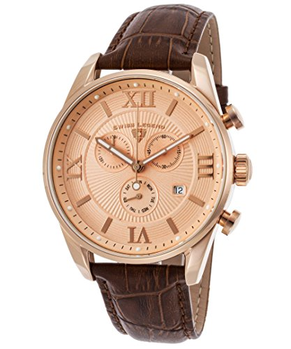 Swiss Legend Men's 'Bellezza' Quartz Stainless Steel and Leather Casual Watch, Color: Brown 22011-RG-09-RA-ABT51M