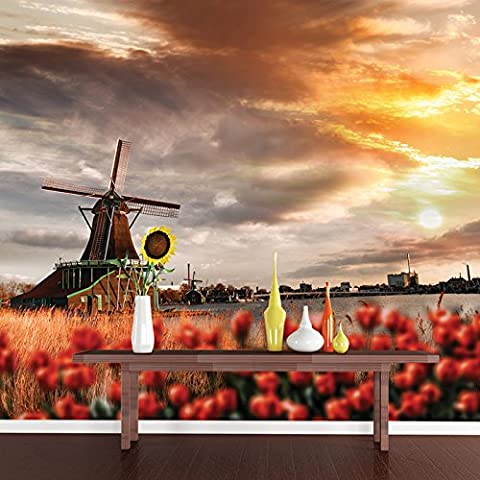 Red Tulips & Windmill Amsterdam Paysage peint Floral photo Wallpaper disponible en 8 tailles Gigantesque