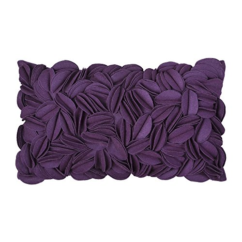 King Rose 3d faite à la main laurier-rose Housse de coussin, Laine, violet, 30 x 50 cm