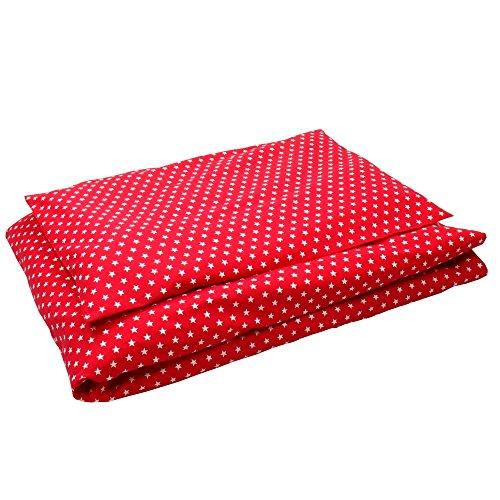 Sugarapple Kinderbettwäsche, 2 tlg. Set mit Deckenbezug 100 x 135 cm und Kissenbezug 40 x 60 cm, Kinder Bettwäsche aus 100% Baumwolle mit Reißverschluss, rot mit weißen Sternen (Rote Baby-mädchen Bettwäsche)
