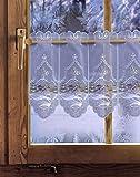 Bestickte Scheibengardine WINTERWALD 35cm / 55cm hoch Plauener Spitze, Weihnachtsgardine, Weihnachtsdeko
