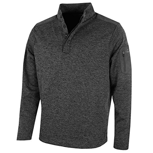 Greg Norman 2018 Bonded Wind Top Pullover Herren Windproof Golf Pullover Black Large - Mann Gnc