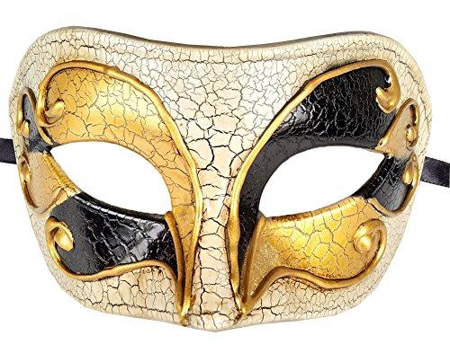 (Coolewife Männer Maskerade Maske Vintage Venetian Crack Party Karneval Ball Kostüm Maske (Schwarzes Gold))