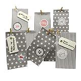 Frau WUNDERVoll® DIY Adventskalender zum Befüllen Weihnachtszeit: Set 204, Blockbodenbeutel 12(L) x7(B) x24(H) cm grau Sterne und Streifen, Ziffern Pastell