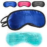 Feluna, mascherina per dormire con cuscino rinfrescante, ideale anche come maschera per gli occhi, con elastico regolabile, effetto seta Blau