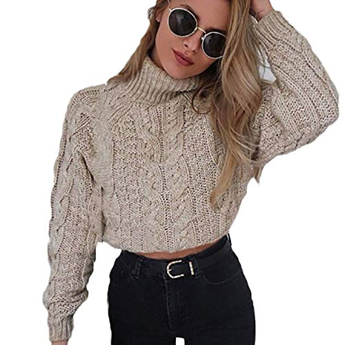 Feytuo Damen Pullover Lumbaler Bauch Sweater Langarm