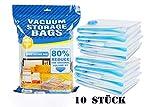 C-star 10 Stück Vakuumbeutel Kleidung,40 x 60CM Vakuum Aufbewahrungsbeutel Wiederverwendbar für Bettwäsche,Wiederverwendbar Kleiderbeutel für Kleidung