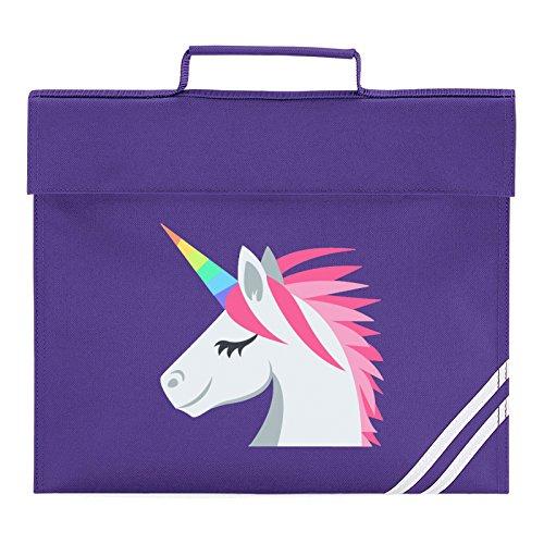 Emoji Unicorn Face Book Bag, Classic Purple