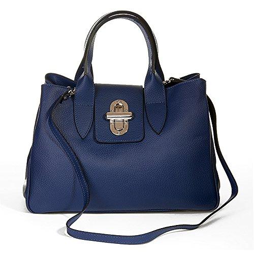 IO.IO.MIO Henkeltasche Handtasche Damen Tragetasche Frauen Tasche echt Leder dunkelblau Hand Taschen