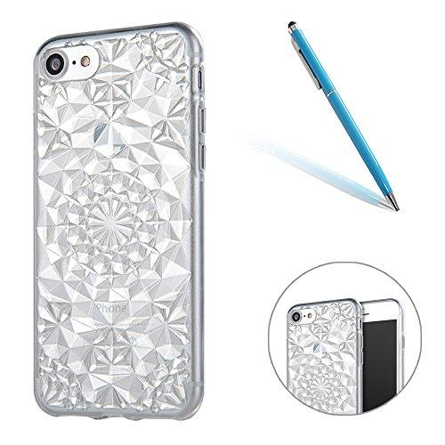 iPhone 7 Caso Cassa Back Cover, CLTPY Marvel Colorato Belle Particolari 3D Cristallo Modello del Diamante Disegni Shell Skin in Liscio Smooth Toccare Gomma,Resistente Urti Antiurto Chiaro Cristallo Po Bianca