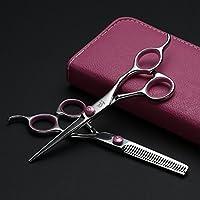 Set de tijeras de peluquería, tijeras de peluquero de 6 pulgadas incl. Tijeras de peluquero de corte agudo y preciso, estuche y peine negro