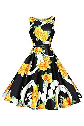 YMING Damen 50s Rockabilly Audrey Kleid Retro Cocktailkleider Blumenkleid Petticoat Kleid (Boatneck Cap)