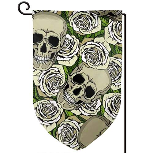 Seamless with Skulls and White Roses for Your Art Garden Flag Yard Flag 12.5