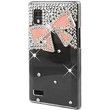 Semoss 3D Cristal Bling Diamante Funda Carcasa Case Cover con rosa Bow Para LG Optimus L9 P760 - Transparente
