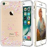 iPhone 7 Custodia,Apple iPhone 7 (4.7 inch) Custodia,Richoose iPhone 7 TPU [Slim Fit] Cancella TPU Gel Della Gomma Custodia Protettiva,Cassa del Respingente Crystal Clear Trasparente Custodia Protettiva per iPhone 7 4.7 inch - Cherry Swallow