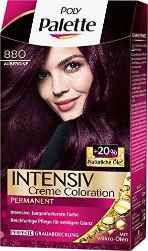 Palette Intensiv Creme Coloration 880 Aubergine Stufe 3, 3er Pack (3 x 115 ml)