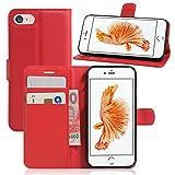 France-Technology Coque iPhone 7 Plus / 8 Plus, Etui de Protection avec Fonction Stand (Tenir Debout), Portefeuille Range-Cartes, Housse iPhone 7 Plus / 8 Plus - Rouge