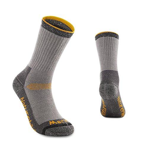 Mitte Wandern Socken (Merino Woollen Socken Unisex Sport Wandern Socken im Freien Winter Inspissate Wärme Ski Socken Mittel-Wadenlänge Socken(Yellow,L))
