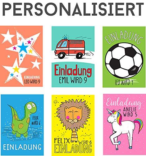 8 STÜCK Einladungskarten Kindergeburtstag für Junge & Mädchen PERSONALISIERT - Dino, Feuerwehrman, Prinzessin, Einhorn, Löwe, Sterne, Pirat, Eule, Pferd