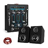 Resident DJ DJ-25 • DJ-Mixer • DJ-Mischpult • Bluetooth • auna ST-2000 • Lautsprecher Set • Boxenpaar • Passive 2-Wege Lautsprecher • LCD-Display • Echo-Regler • 10 m Lautsprecherkabel • Schwarz-Blau