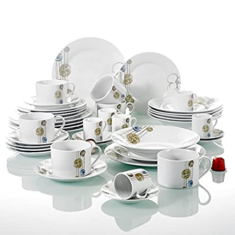 42-Piece Cream White Porcelain Gold Blue Balls Floral Ivory White Ceramic Dinner Combi-Set with Cups Saucers Dessert Plates Soup Plates and Dinner Plates Dinnerware Service Set for