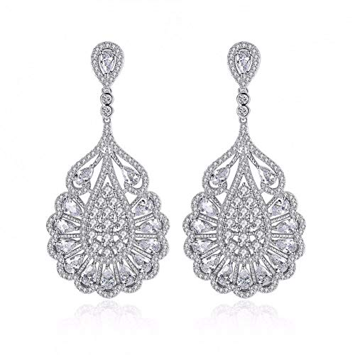 LOJBFD Lange Blütenform klare Brillante Ohrringe Micro gepflasterte weibliche Mode Ohrringe