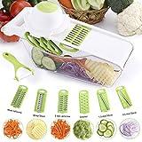 Gemüsehobel Mandoline Gemüseschneider - 6 in 1 Mandoline Slicer, Profi-Gemüse Schneider Abnehmbar Küchenreibe für Gemüse und Obst aus Edelstahl und ABS Kunststoff