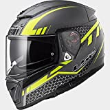 Casco moto integrale Breaker LS2 FF390 titanium yellow flou scooter predisposto Bluetooth taglia XL