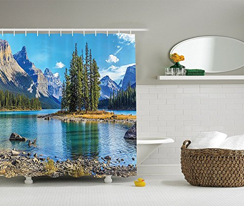 TAMMY CHAPPELL Lakehouse Decor Collection, Scenery of Spirit Island on Maligne Lake Canada in a Summer Time with Mountains Image, Polyester Fabric Bathroom Shower Curtain, 84 inches Extra Long, Green -