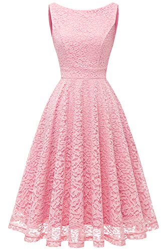 bbonlinedress Damen Charmant Spitzenkleid Ärmellos Cocktail Party Floral Abendkleid Pink M