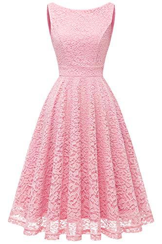bbonlinedress Damen Retro Charmant Ärmellos Rundhals Knielang mit Spitzen Floral Rockabilly Cocktail Abendkleider Pink 3XL -