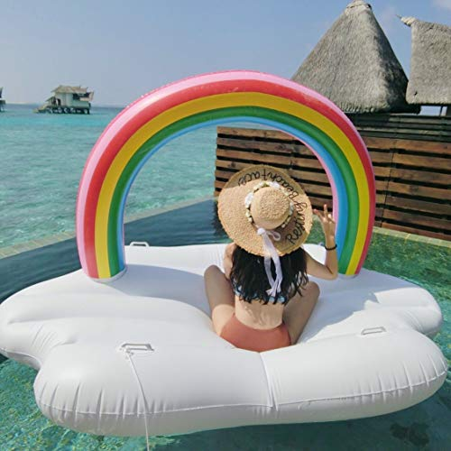 OUKANING Aufblasbarer Pool Schwimmgerät, Regenbogen Aufblasbare Luftmatratze Inflatable Pool Float Schwimminsel - Pool Float