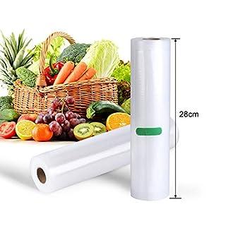 Deeplee Sac sous Vide Alimentaire,AKZIM Rouleaux de Mise sous Vide pour Machine sous Vide,Pack de 2 (28cm x 500cm Chaque)
