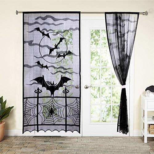 Gaddrt Halloween Pipistrelli Ragnatela Tende Cobweb Lace Festival Decorazioni Finestra Porta Nero