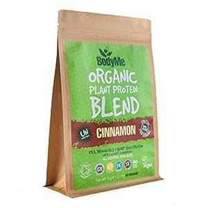 BodyMe Organic Vegan Protein Powder Blend | Raw Cinnamon | 1kg | UNSWEETENED with 3 Plant Proteins
