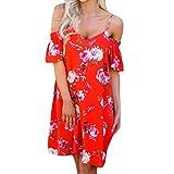 ❤️YunYoud❤️ Heiß! Damen Kleid Frauen Frühling Sommer Lose Minikleid Blumendruck Schlinge Cocktail Minikleid Casual Party Kleid Knielänge Strandkleid Abendkleid (S, Rot)