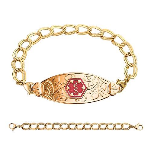 divoti-custom-engraved-pvd-gold-lovely-filigree-medical-alert-bracelet-double-link-chain-tp-red-70